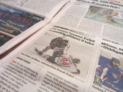 Hockey Ghiaccio – Milano Rossoblu – Gazzetta dello Sport Febbraio 2014