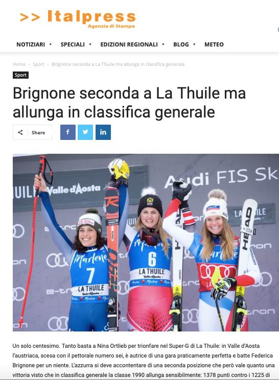 Italpress Online Febbraio 2019 –  FIS Alpine Ski World Cup
