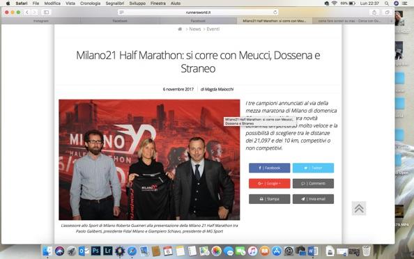 Novembre 2017:CONFERENZA STAMPA MILANO21 HALF MARATHON