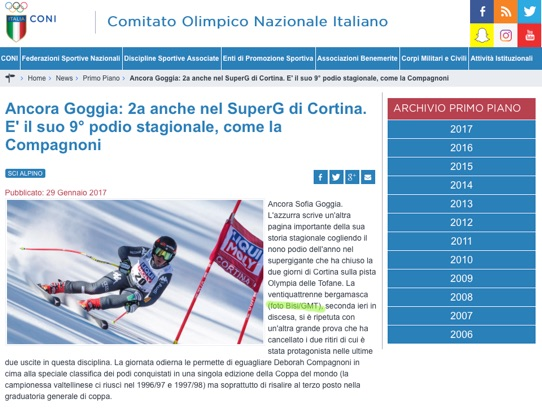 CONI: GENNAIO 2017:CORTINA DH/SG LADIES AUDI FIS SKI WORLD CUP