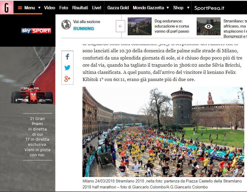 Gazzetta dello Sport OnLine- Marzo 2018 Stramilano 2018 – Half Marathon